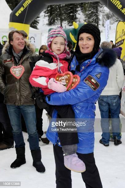 Anja Kling and daughter Alea attend the 3 Tirol Cross Mountain in Kuehtai Austria