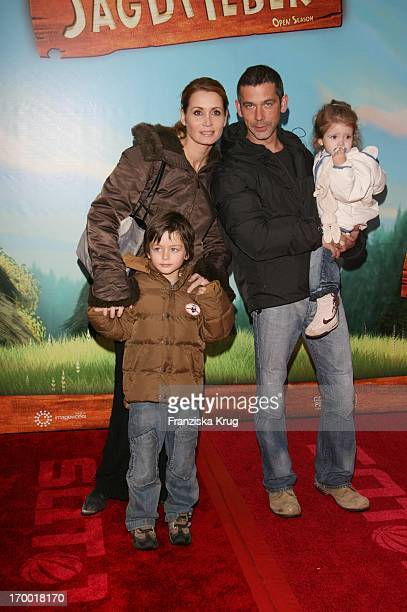 Anja Kling and husband Jens Solf And The Children Tano Adrian and Alea In Germany at Premiere Of Open Season in Cinestar Sony Center in Berlin