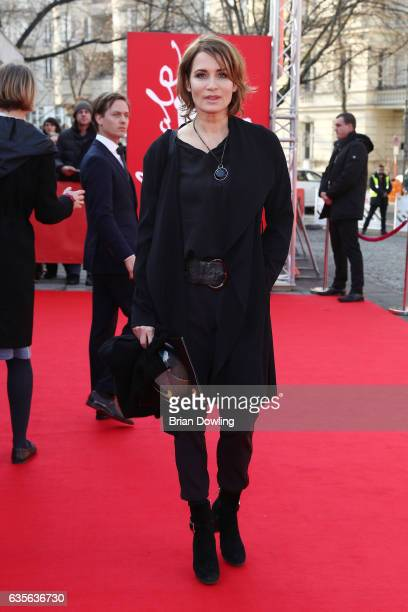 Anja Kling arrives at the 'Der Gleiche Himmel' premiere during the 67th Berlinale International Film Festival Berlin at Haus Der Berliner Festspiele...