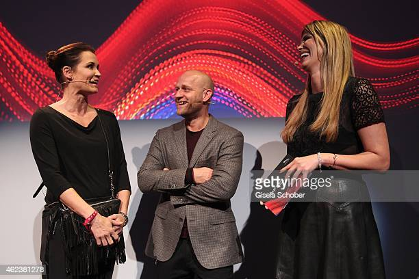 Anja Kling Juergen Vogel and Verena Wriedt attend the JAGUAR XE presentation at Umspannwerk on January 27 2015 in Berlin Germany