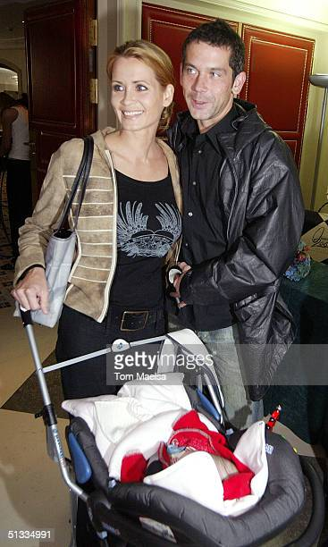 Anja Kling ttend the Innocence in Danger charity brunch at the Adlon hotel with partner Jens Solt and daughter Alea on September 22 2004 in Berlin...