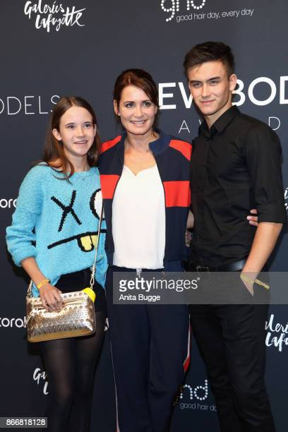 Anja Kling with her daughter Alea and son Tano attend the 'New Body Award by McFit Models' at Tempodrom on October 26, 2017 in Berlin, Germany.
