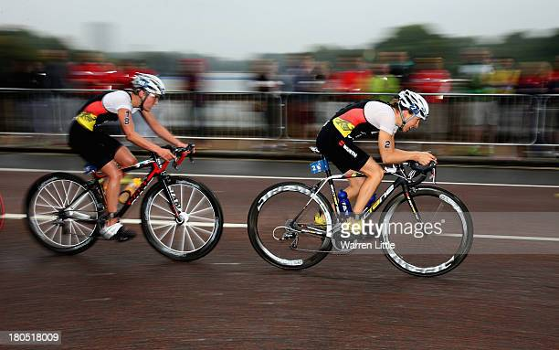 Anja Knapp and Anne Haug of Germany inaction during the Elite Women PruHealth ITU World Triathlon Grand Final London at Hyde Park on September 14...