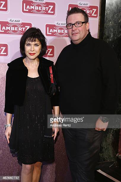 Anja Kruse and partner arrive for the Lambertz Monday Night 2015 at Alter Wartesaal on February 2 2015 in Cologne Germany