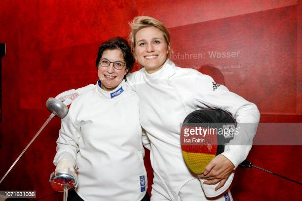 Anja Lehner and German fenching olympic gold medalist Britta Heidemann during the event 'FechtOlympiasiegerin fliegt mit Daimler Kunstflugass...