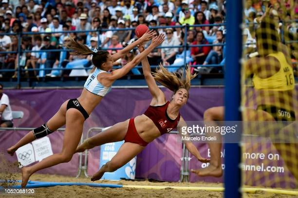 Anja Luksic of Croatia plays a shot during a Women's Gold Medal Match during day 7 of Buenos Aires 2018 Youth Olympic Games at Green Park on October...