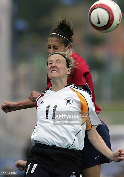Anja Mittag of Germany and Tina Frimpong of USA challenge to win the header during the Womens Algarve Cup match between Germany and USA on March 15,...