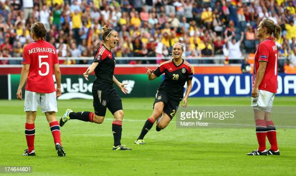 Anja Mittag of Germany celebtates after she scores her team's opening goal during the UEFA Women's EURO 2013 final match between Germany and Norway...