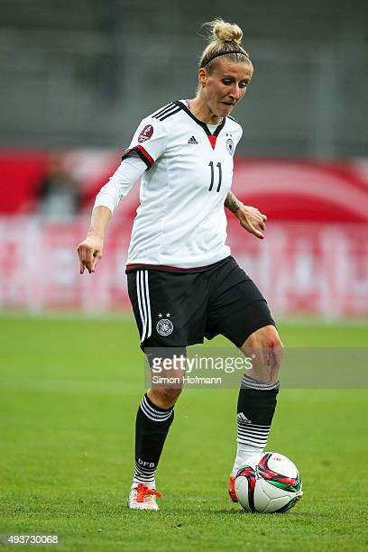 Anja Mittag of Germany controls the ball during the UEFA Women's Euro 2017 Qualifier match between Germany and Russia at BRITAArena on October 22...