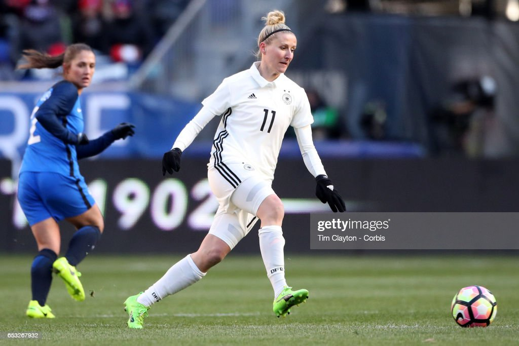 Anja Mittag #11 of Germany in action during the France Vs Germany SheBelieves Cup International match at Red Bull Arena on March 4, 2017 in Harrison, New Jersey.