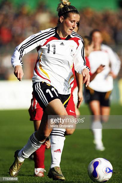 Anja Mittag of Germany in action during the UEFA Womens European Championship Qualifying match between Germany and Belgium on October 28 2007 in...