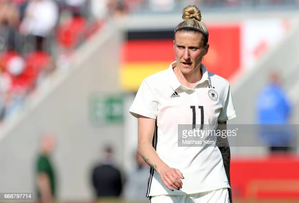 Anja Mittag of Germany looks on during the women's international friendly match between Germany and Canada at Steigerwald Stadion on April 9 2017 in...