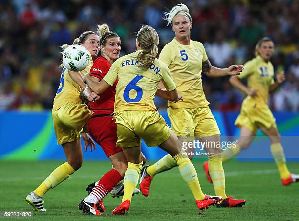 Anja Mittag of Germany takes on the Swedish defence during the Women's Olympic Gold Medal match between Sweden and Germany at Maracana Stadium on...