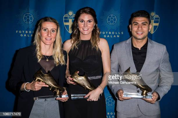 Anja Mittag, Sandra Lagerbratt, and Paulinho win the top scorer of the year award during the Swedish Football Gala at the Ericsson Globe Arena on...