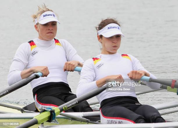 Anja Noske and Daniela Reimer of Germany row in the lightweight women's double sculls qualification heat of the FISA Rowing World Cup on June 18,...