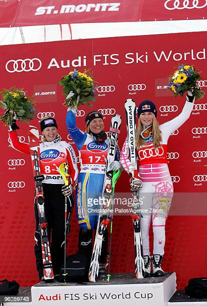Anja Paerson of Sweden takes 1st place Michaela Kirchgasser of Austria takes 2nd place Lindsey Vonn of the USA takes 3rd place during the Audi FIS...