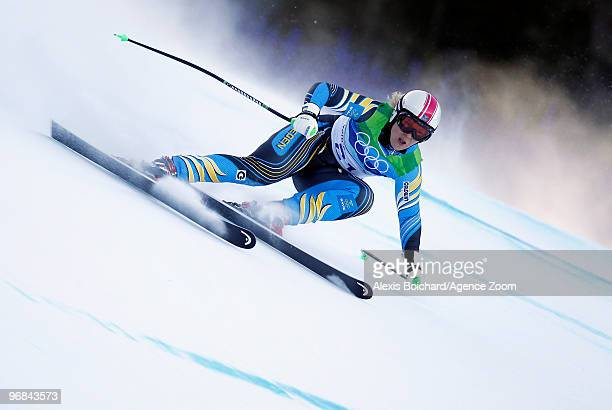 Anja Paerson of Sweden takes the Bronze Medal during the Alpine Skiing Ladies Super Combined Downhill on day 7 of the Vancouver 2010 Winter Olympics...