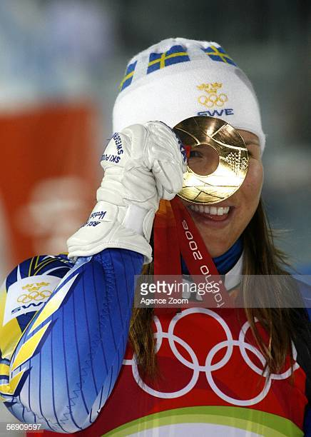 Anja Paerson of Sweden wins the gold medal in the Womens Alpine Skiing Slalom Final on Day 12 of the 2006 Turin Winter Olympic Games on February 22...