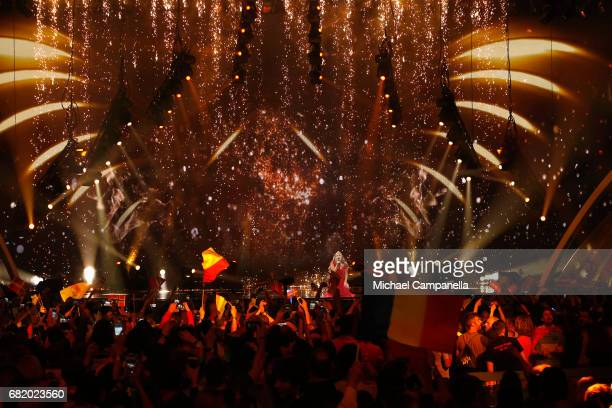 Anja representing Denmark performs the song 'Where I Am' during the second semi final of the 62nd Eurovision Song Contest at International Exhibition...