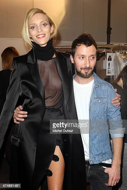 Anja Rubik and Anthony Vaccarello pose prior the Anthony Vaccarello show as part of the Paris Fashion Week Womenswear Fall/Winter 20142015 on...