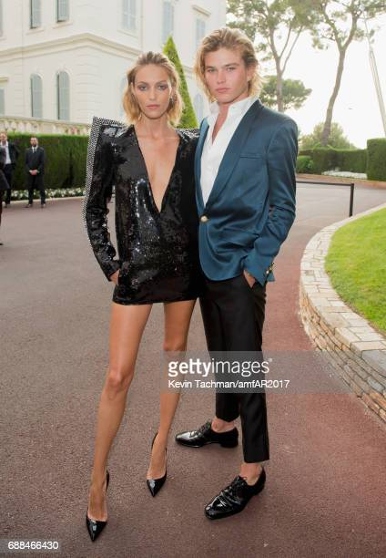 Anja Rubik and Jordan Barrett attend the amfAR Gala Cannes 2017 at Hotel du CapEdenRoc on May 25 2017 in Cap d'Antibes France