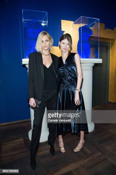 Anja Rubik and Victoria Gross attend Galerie Gmurzynska Hosts Diana WidmaierPicasso in Celebration of Mene 24K and Yves Klein on December 27 2017 in...