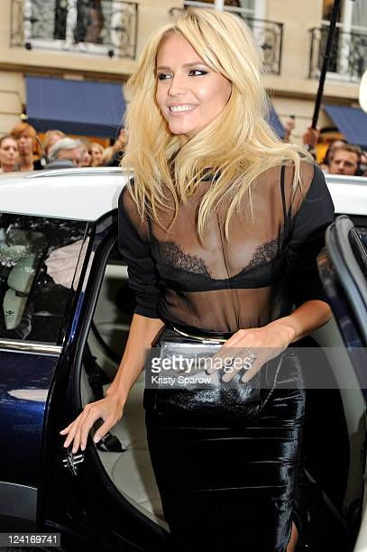Anja Rubik arrives to the Vogue Fashion Celebration Night 2011 on Avenue Montaigne on September 8 2011 in Paris France