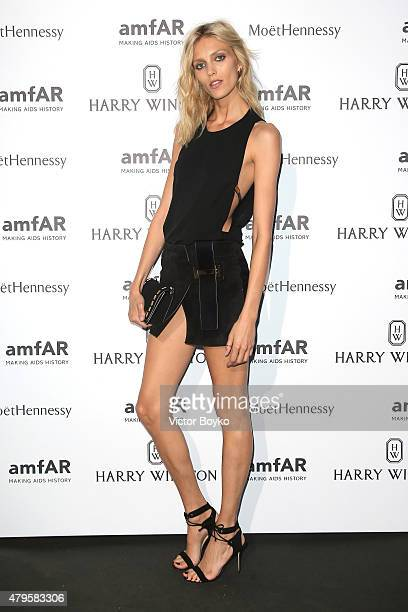 Anja Rubik attends the amfAR dinner at the Pavillon LeDoyen during the Paris Fashion Week Haute Couture on July 5 2015 in Paris France