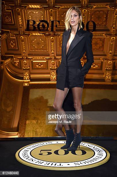 Anja Rubik attends the #BoF500 Cocktail Event as part of the Paris Fashion Week Womenswear Spring/Summer 2017 at Hotel de Ville on October 4 2016 in...