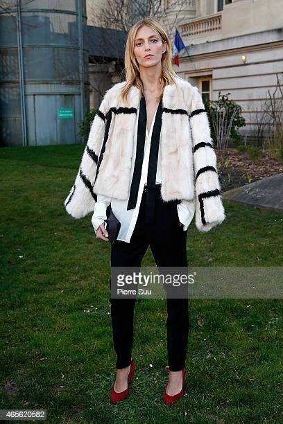 Anja Rubik attends the Chloe show as part of the Paris Fashion Week Womenswear Fall/Winter 2015/2016 on March 8 2015 in Paris France
