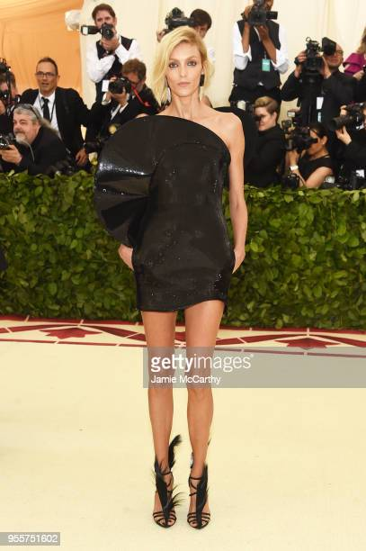 Anja Rubik attends the Heavenly Bodies Fashion The Catholic Imagination Costume Institute Gala at The Metropolitan Museum of Art on May 7 2018 in New...