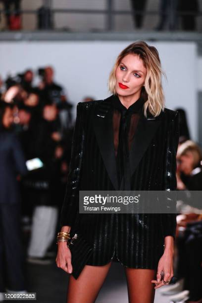 Anja Rubik attends the International Woolmark prize 2020 during London Fashion Week February 2020 at Ambika P3 on February 17 2020 in London England