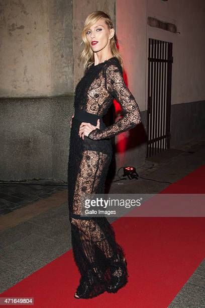 Anja Rubik attends the LaMania Fall/Winter 2015/2016 fashion show on April 28 2015 at Soho Factory in Warsaw Poland