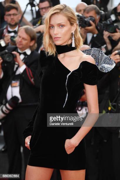 Anja Rubik attends the The Meyerowitz Stories screening during the 70th annual Cannes Film Festival at Palais des Festivals on May 21 2017 in Cannes...