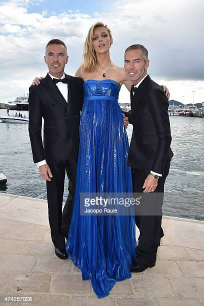 Anja Rubik Dan Caten and Dean Caten are seen on day 9 of the 68th annual Cannes Film Festival on May 21 2015 in Cannes France