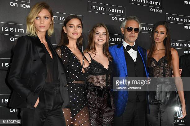Anja Rubik Irina Shayk Barbara Palvin Andrea Bocelli Joan Smalls and Sandro Veronesi attend Intimissimi On Ice at Arena on October 7 2016 in Verona...