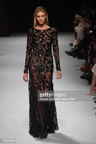 Anja Rubik walks the runway during the Nina Ricci show as part of the Paris Fashion Week Womenswear Fall/Winter 20142015 on February 27 2014 in Paris...