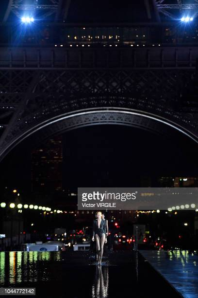 Anja Rubik walks the runway during the Saint Laurent Ready to Wear fashion show as part of the Paris Fashion Week Womenswear Spring/Summer 2019 on...
