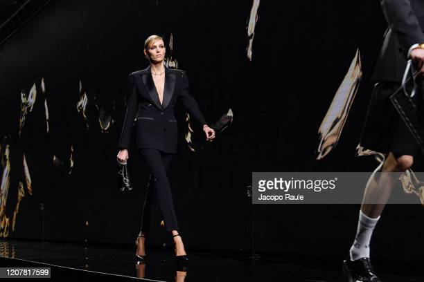 Anja Rubik walks the runway during the Versace fashion show as part of Milan Fashion Week Fall/Winter 20202021 on February 21 2020 in Milan Italy
