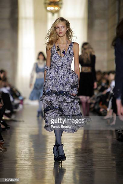 Anja Rubik wearing Jill Stuart Fall 2005 during Olympus Fashion Week Fall 2005 Jill Stuart Runway at Astor Hall New York Public Library in New York...