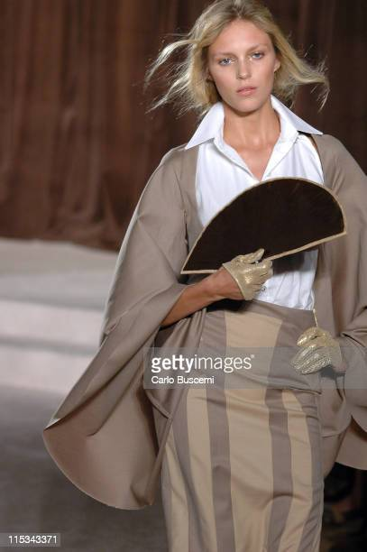 Anja Rubik wearing Kai Milla Spring 2006 during Olympus Fashion Week Spring 2006 Kai Milla Runway at Celeste Bartos Forum NY Public Library in New...