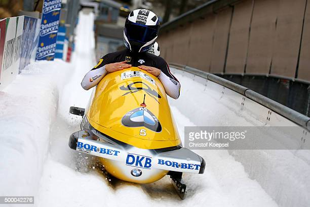 Anja Schneiderheinze and Erline Nolte of Germany compete in their second run of the two women's bob competition during the BMW IBSF Bob & Skeleton...