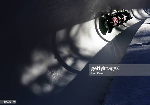 Anja Schneiderheinze and Lisette Thoene of Germany compete during the Women's Bobsleigh heat 2 of the IBSF Bob Skeleton World Championship at Olympia...