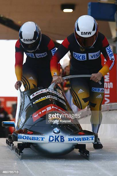 Anja Schneiderheinze and Stephanie Schneider of Germany competes in their first run of bob women competition during the FIBT Bob Skeleton World Cup...