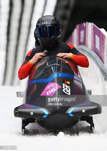 Anja Schneiderheinze and Stephanie Schneider of Germany team 3 compete during the Women's Bobsleigh on Day 12 of the Sochi 2014 Winter Olympics at...