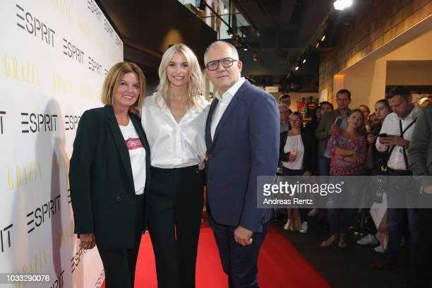 Anja SchuebelerDroese Lena Gercke and SVP Head of Global Marketing Esprit Vincent Jeanniard attend #LenaForEsprit Collection Launch Grazia x Esprit...