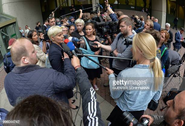 Anja Sturm lawyer of defendant Beate Zschaepe addresses the media after the proclamation of sentence in the trial against Beate Zschaepe the only...