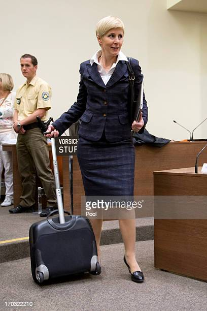 Anja Sturm lawyer of defendant Beate Zschaepe arrives on day eight of the NSU neoNazis murder trial at the Oberlandgericht Muenchen court on June 11...