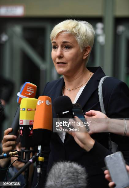 Anja Sturm lawyer of defendant Beate Zschaepe talks to the media outside the Oberlandesgericht courthouse after judges announced their verdict in the...