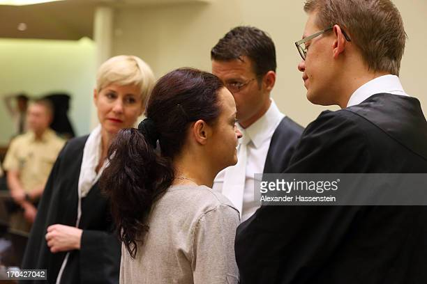 Anja Sturm Wolfgang Heer and Wolfgang Stahl lawyers of defendant Beate Zschaepe chat prior prior to the trial during day ten of the NSU neoNazis...